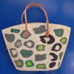 LEOPARD round naturale - borsa artigianale in rafia realizzata a mano in Madagascar